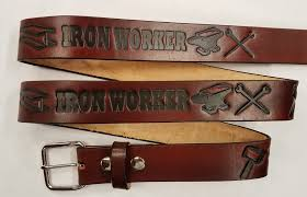 iron worker embossed leather belt
