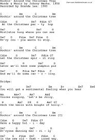 Song Lyrics With Guitar Chords For Rockinu0027 Around The Christmas Rock In Around The Christmas Tree