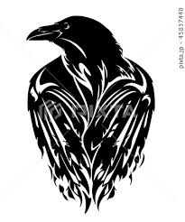 Raven Bird With Closed Wings Black Vector Outlineのイラスト素材