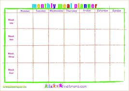 025 Monthly Meal Plan Calendar Template Lovely Idealstalist