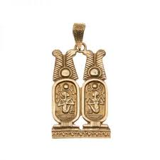 18k gold two cartouche pendant ancient egyptian jewelry