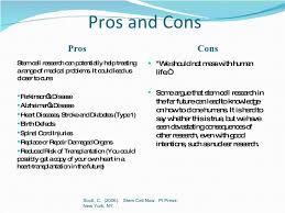 stem cell research pros and cons essay pros of stem cell research  stem cell research pros and cons essay