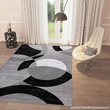 black and white geometric grey circles area rug 5 x 7 2 casual modern rug for dining living room bedroom easy clean carpet b06xrnj3z2