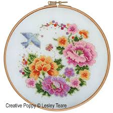Cross Stitch Flower Patterns Enchanting Lesley Teare Designs Oriental Bird And Flower Design Cross Stitch