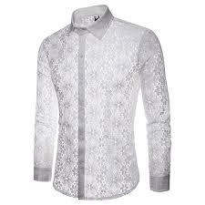 <b>Floral</b> Embroidery Lace Shirt Men <b>2019</b> Brand <b>New Transparent</b> ...