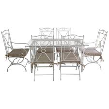 white wrought iron furniture. Country Style White Wrought Iron Patio Furniture Set Featuring Glass Top Table And Tied Cushions I