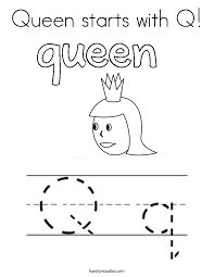 Small Picture Queen starts with Q Coloring Page Twisty Noodle