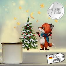 Fensterbild Weihnachtsdeko Weihnachten Fuchs Sterne