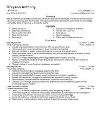 Security Job Description Resume