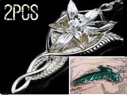 details about 2xset lotr lord of the rings elven leaf brooch arwen evenstar pendant necklace
