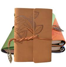 vintage leaves diary notepad pu leather cover leaf decoration notebooks stationary spirial kraft paper notebook cute