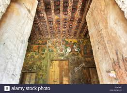 ancient wall paintings inside the debre birhan selassie church gondar ethiopia stock image