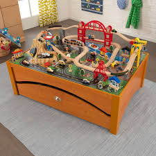 Train Set Table With Drawers Kidkraft Airport Express Table 100 Piece Train Set Walmartcom