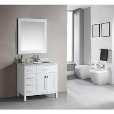 left sink vanity. Delighful Vanity Design Element DEC076DWL London 36 Inch Single Sink Vanity Set In White   Left Side Drawers  Inside N
