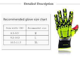 Lacrosse Glove Size Chart Us 25 09 30 Off Oil And Gas Safety Gloves Anti Vibration Nylon Shock Mechanics Impact Oil And Water Resistant Fencing Sport Gloves In Cycling Gloves