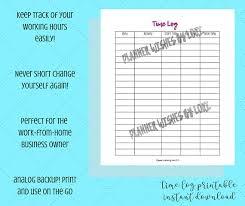 Time Log Printable Worksheet Instant Download Business