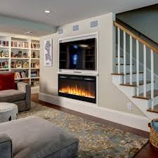 madison  inch pebbles recessed wall mounted electric fireplace