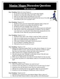 maniac magee discussion questions activity thinking skills high maniac magee discussion questions activity