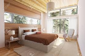 Holz Schlafzimmer Interieur Mit Bett Holzstirnwände Und Große