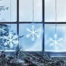 3er Led Schneeflocke Fensterdeko Timer Weihnachtsdeko