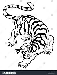 chinese tiger drawing. Contemporary Drawing Tiger Vector Illustration Isolate On White Backgroundsticker Tattoo  DesignJapanese And Chinese Tiger Intended Drawing 7