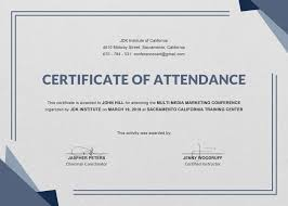 16 Certificate Of Attendance Think Down Town Kc