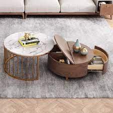 white walnut round nesting coffee table