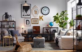 industrial style living room furniture. Eclectic Living Room With Gallery Wall And Industrial Style Wood Metal Shelving. Furniture Ikea