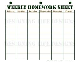 weekly assignment template homework planner template homework planner and weekly homework sheet
