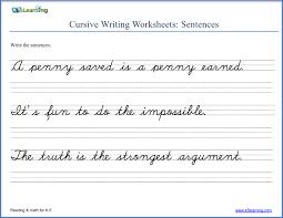 Writing Practice Worksheet Writing Cursive Sentences Worksheets Free And Printable