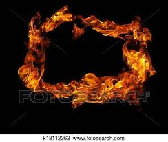 fire frame on black background drawing