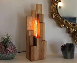 original unique lamp desk made of wine bottle and reclaimed wood quercus