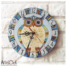 blue owl wall clock white wall clock