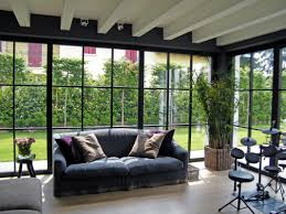 modern small house interior design impressive living. Impressive Living Room Design With Dark Grey Leather Sofa And Glass Wall Also Laminated Wooden Floor Decor Idea Modern Small House Interior 1