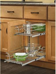 pull out kitchen cabinet basket 2 tier storage organizer chrome metal 19 inches