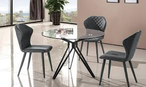 j m solano contemporary round glass table grey fabric chairs dining set 5 pcs