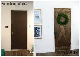 flat panel door to wood barn door for just 25 such an affordable farmhouse style