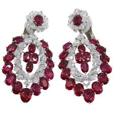 burma ruby diamond platinum chandelier earrings for