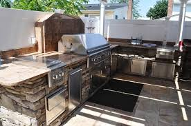 outdoor amusing outdoor kitchen kits within stone based island design also stainless steel furnish and