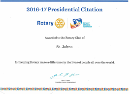 Presidential Citation The Rotary Club Of St Johns Inc