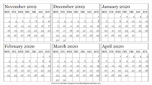 Blank Dec 2020 Calendar Calendar 2019 November December 2020 January February March
