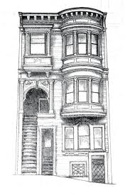window pencil drawing. pencil drawing of san francisco architecture window