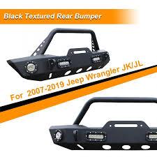 Car Front Bumper Led Lights Black Front Bumper Winch Plate W 4 Led Lights For 2007 2019 Jeep Wrangler Jk Front Bumper