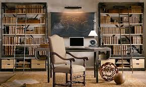 a great layout concept for a home library dual bookcase shelving with vintage restoration hardware officeoffice wall decoroffice deskoffice