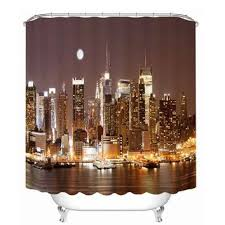 kids waterproof polyester bathroom shower curtain decor with hooks