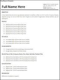 Free General Resume Templates Job Resume Templates 6 Free Printable Ms Word Formats