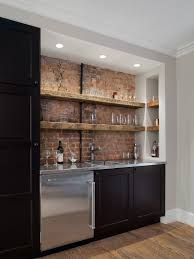 With Backsplash And Sink Also Various Glass In Cabinets And Brick Wall   Basement IdeasWet Bars ...