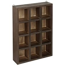 Amazon.com - 12 Compartment Brown Wood Freestanding or Wall Mounted Shadow  Box, Display Shelf Shelving Unit -