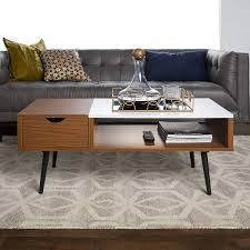 Coffee Table With Storage Century Modern Wood And Faux Marble