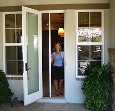retractable screen doors. Casper Single Door Retractable Screen In White Frame On Out-swing Doors